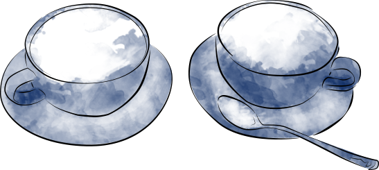 Illustration of two coffee cups on saucers, one with a spoon, in a modern watercolour style.