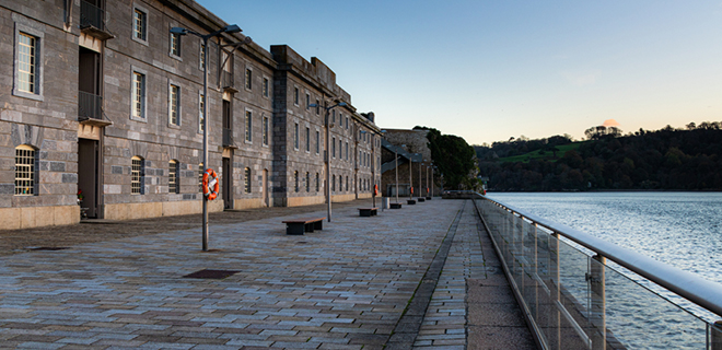 View of the sea from Royal William Yard